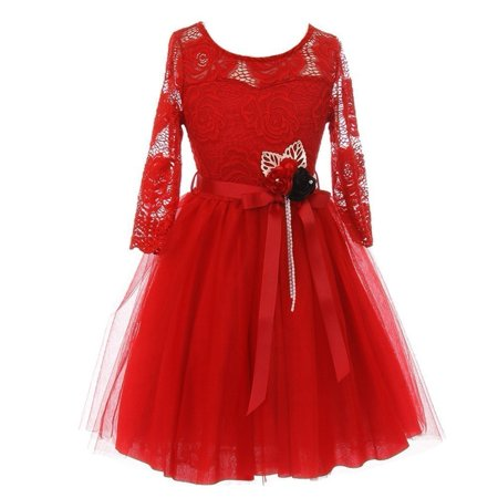 Girls Red Floral Lace Long Sleeve Mesh Overlay Flower Girl - Girls Red Dresses