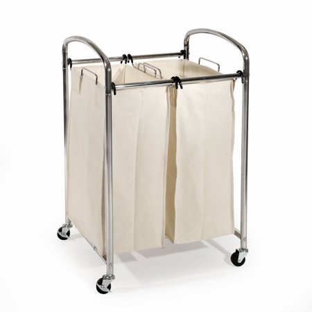 Mobile Double Bag Compact Laundry Hamper Sorter Cart, Chrome