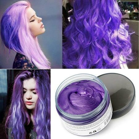 Mofajang Hair Wax Temporary Hair Coloring Styling Cream Mud Dye - Purple