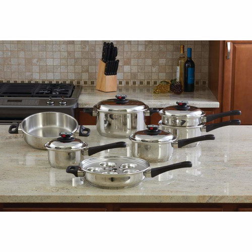 Chef's Secret Maxam 17 Piece Stainless Steel Cookware Set