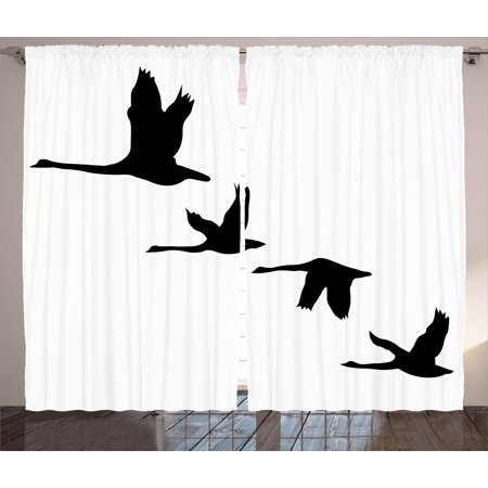 Freedom Curtains 2 Panels Set, Silhouette of Group of Flying Birds Gulls in the Sky Season Migration Themed Image, Window Drapes for Living Room Bedroom, 108W X 63L Inches, Black White, by Ambesonne