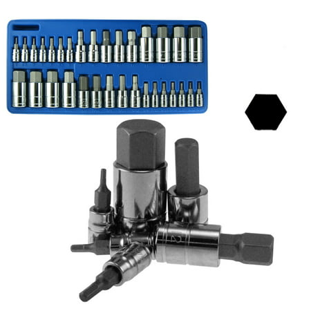32 Piece Master Hex Bit Socket Set Sae & Metric Standard Mm