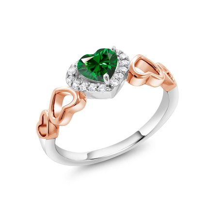 bee124c79 Gem Stone King - 925 Sterling Silver and 10K Rose Gold Fashion Right-Hand  Ring Set with Green Zirconia from Swarovski - Walmart.com
