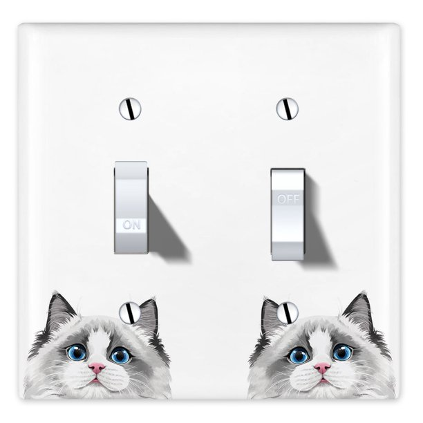 Wirester 2 Gang Toggle Wall Plate Switch Plate Cover Animal White Silver Point Ragdoll Cat Walmart Com Walmart Com