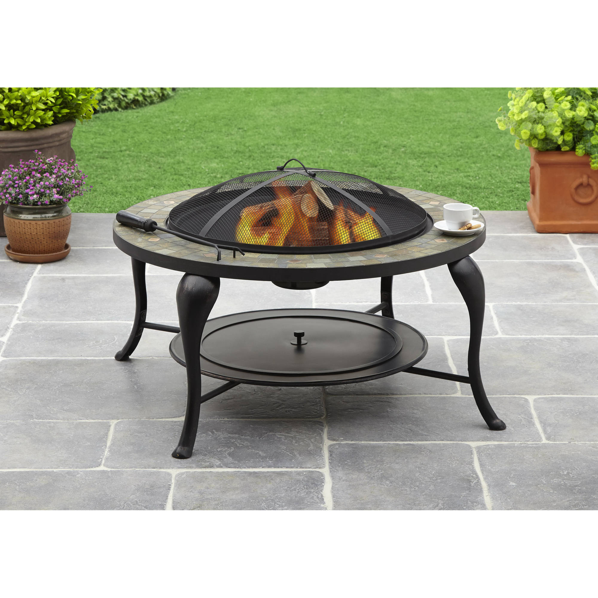Premium Sunlight 5-piece Chat Set with Gas Fire Pit Table, Glass ...