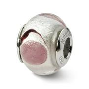 White/Lavender/Black Murano Glass Bead & Sterling Silver Charm, 14mm