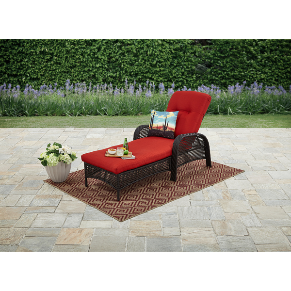 Mainstays Briar Creek Outdoor Chaise Lounge Chair, Adjustable Recline