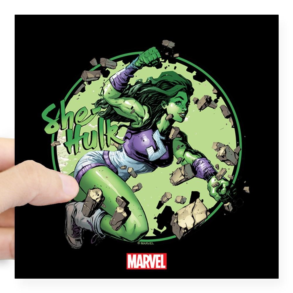 "CafePress - She Hulk Punching Square Sticker - Square Sticker 3"" x 3"""