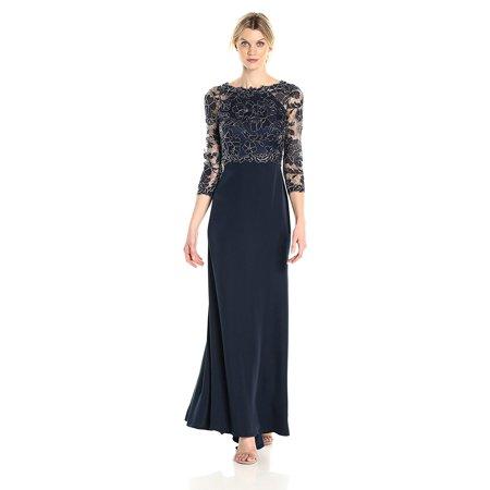 Tadashi Shoji 3/4 Sleeve Embroidered Lace and Sequin Evening Gown (Tadashi Shoji Sequin Lace Gown Plus Size)