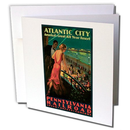 3dRose Vintage Atlantic City Pennsylvania Railroad Travel Poster - Greeting Cards, 6 by 6-inches, set of 12