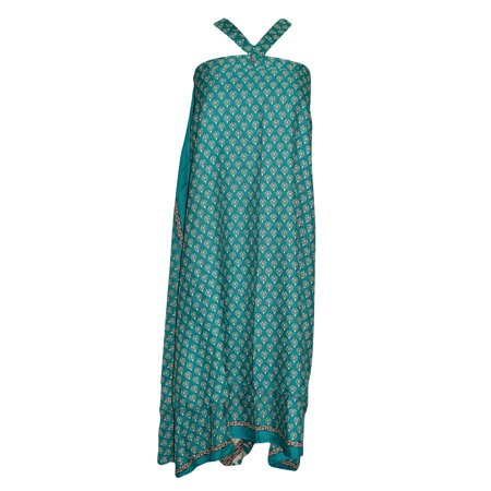 Mogul Magic Wrap Skirt Green Floral Print Premium Reversible Silk Sari Two Layer Sarong Dress