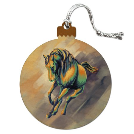 Horse Running Painting Cool Colors Wood Christmas Tree Holiday (Horse Tree Ornament)