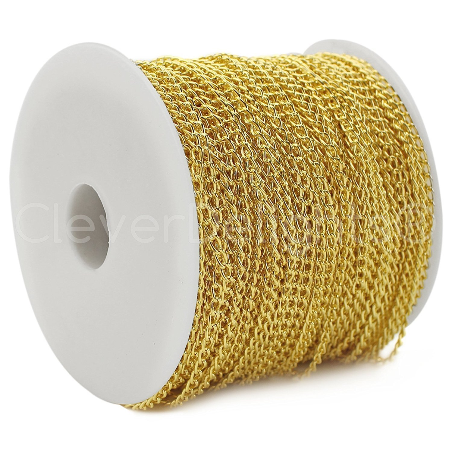 CleverDelights Curb Chain Spool - 3x5mm Link - Gold Color - 330 Feet