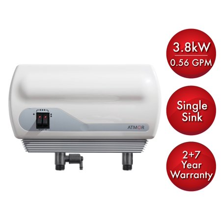 Atmor 3 8Kw 240 Volt 0 56 Gpm Electric Tankless Water Heater With Pressure Relief Device  On Demand Water Heater