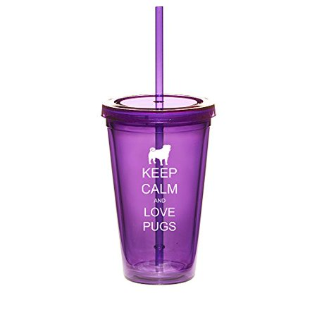 16oz Double Wall Acrylic Tumbler Cup With Straw Keep Calm And Love Pugs (Purple) - Photo Acrylic Tumbler With Straw