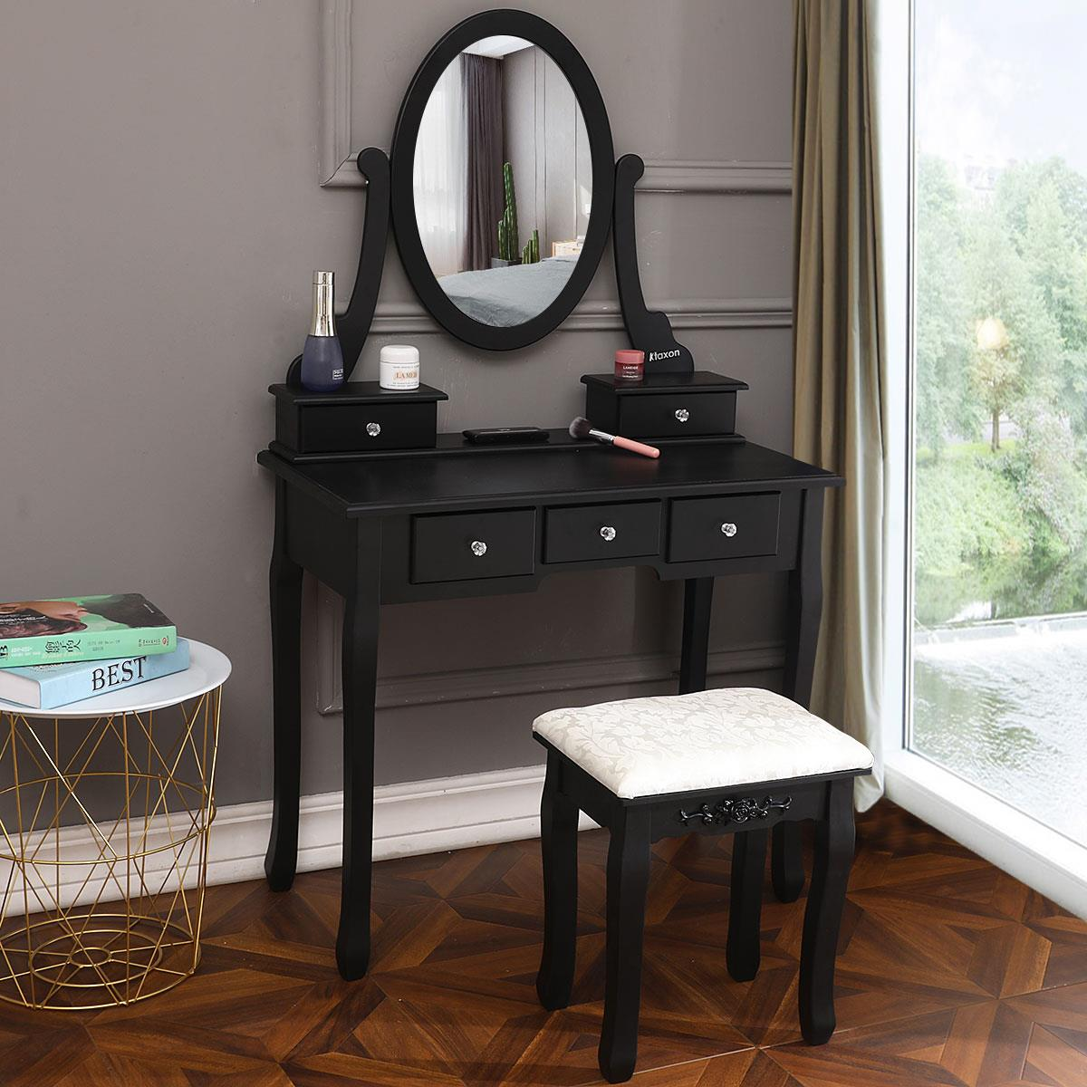 Ktaxon Vanity Makeup Dressing Table Set W Stool 5 Drawers Amp Oval Mirror Jewelry Desk Black