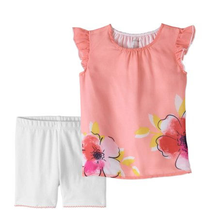 (Baby Girls' Flutter Sleeve Chiffon Blouse and Shorts, 2-Piece Outfit Set)
