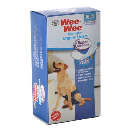 Four Paws Wee Wee Super Absorbent Disposable Diaper Liners 10 Pack - (Fits All Garment -