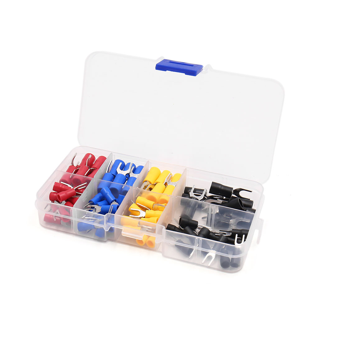 100pcs  10 Gauge Fork Spade Insulated Wire Crimp Terminals Connector Kit
