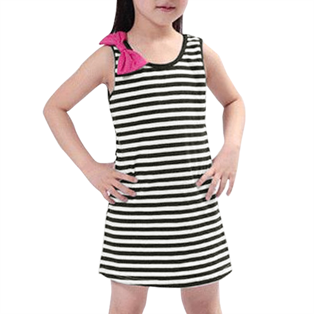 Girls Stripes Bowknot Decor Sleeveless Tank Dress Allegra Kids Black White 2T