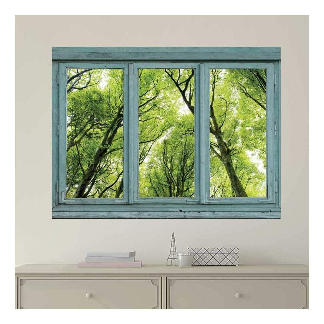 wall26 Vintage Teal Window Looking Out Into a Green Forest - Wall Mural, Removable Sticker, Home Decor - 36x48 inches