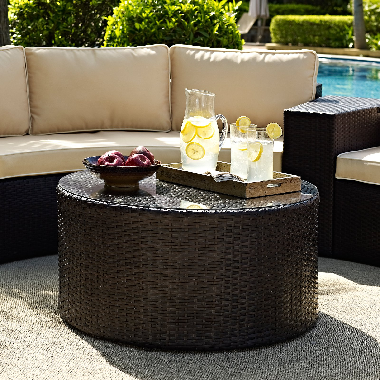 crosley furniture catalina outdoor wicker round glass-top coffee