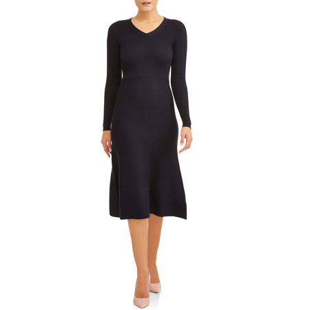 (Women's Long Sleeve Fit and Flare Sweater Dress)