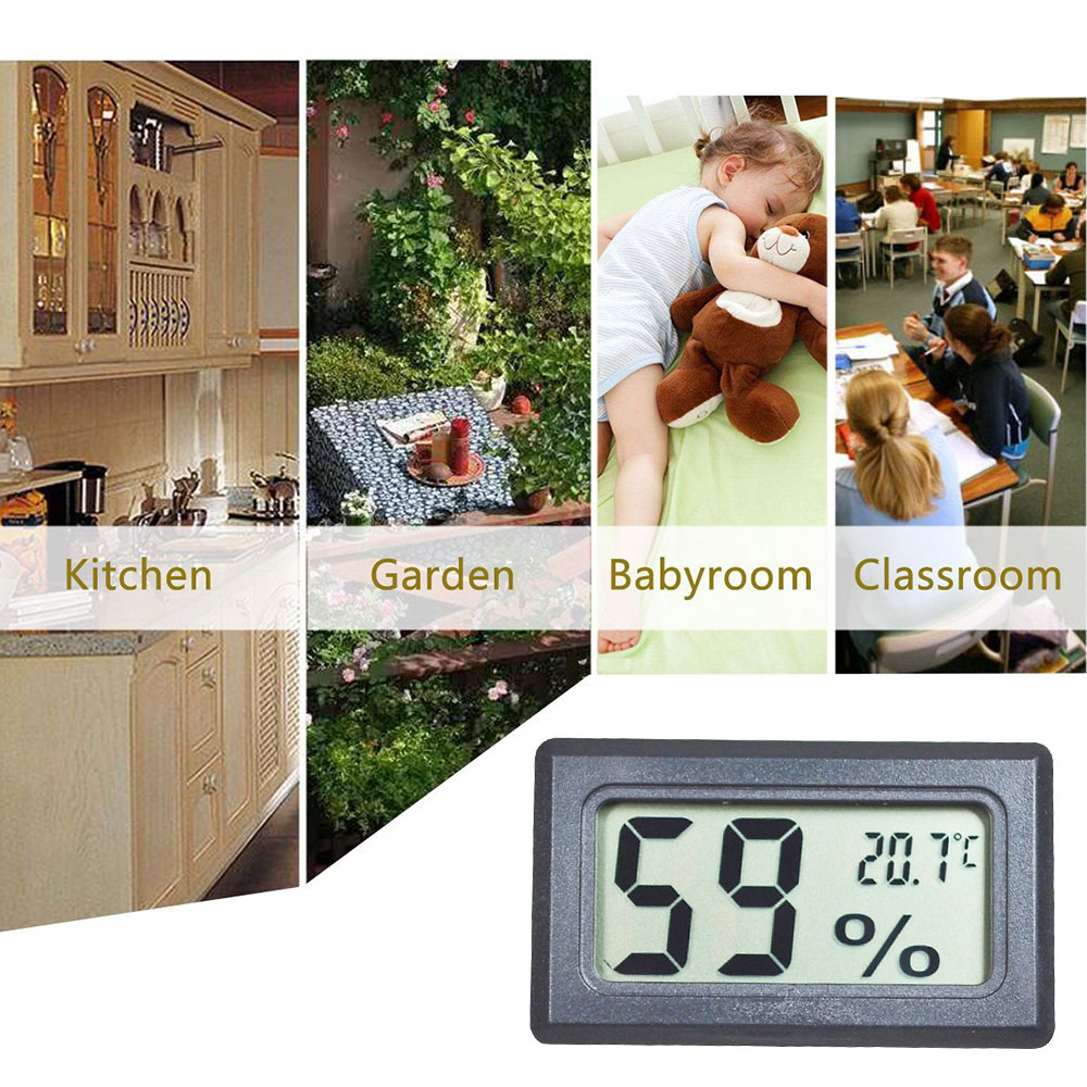 JEDEW 2-Pack Mini Hygrometer Thermometer Digital LCD Monitor Indoor Outdoor for