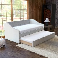 Premier Vermont White Upholstered Tufted Daybed with Trundle Bed, Twin