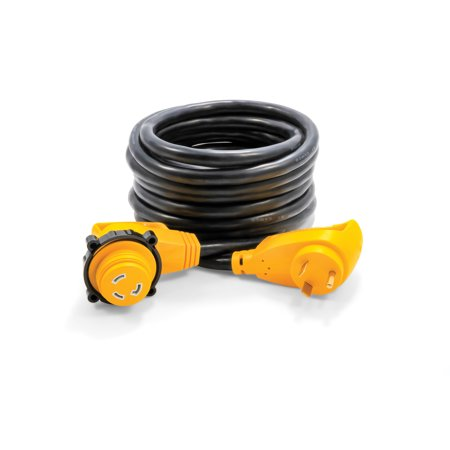 - Camco 55524 RV 25' 30-Amp Male and 30-Amp Female PowerGrip 90 Degree Locking Extension Cord