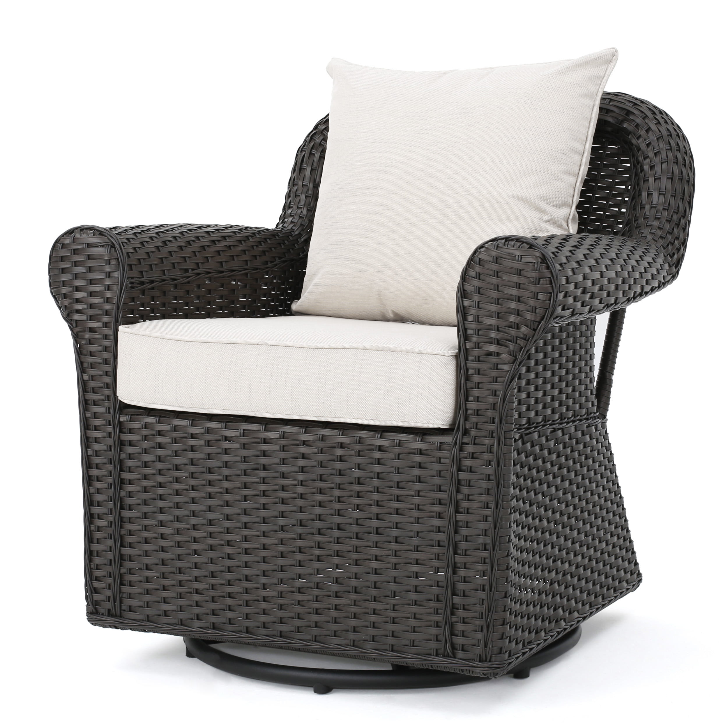 Admiral Outdoor Dark Brown Wicker Swivel Rocking Chair with Cushions, Beige by GDF Studio