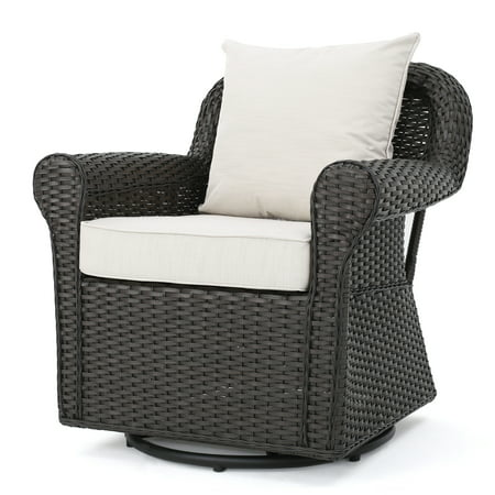 Admiral Outdoor Dark Brown Wicker Swivel Rocking Chair with Cushions, (Admiral Chair)