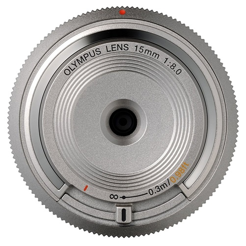 Olympus BCL-15mm f8.0 Silver Body Lens Cap for Olympus/Panasonic Micro 4/3 Cmra