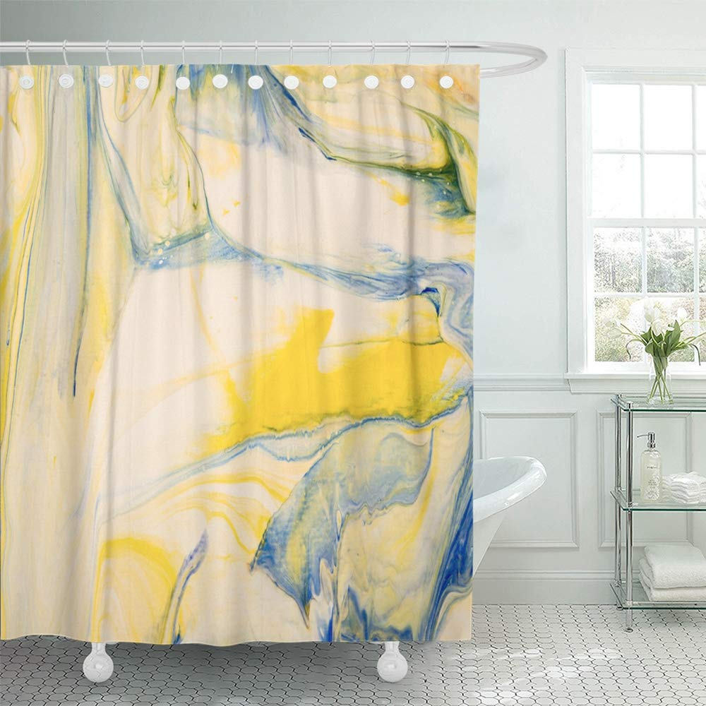 PKNMT Creative Blue Green Yellow Abstract Hand Close up Fragment Painting on Canvas Bathroom Shower Curtain 66x72 inch