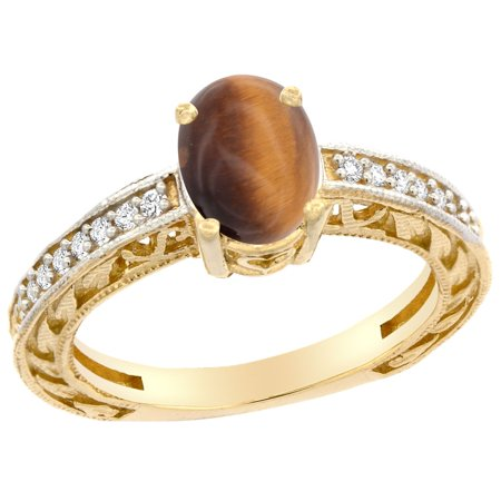 Oval Tigers Eye Cabochon Ring - 10K Gold Natural Tiger Eye Ring Oval 8x6 mm Diamond Accents, sizes 5 - 10