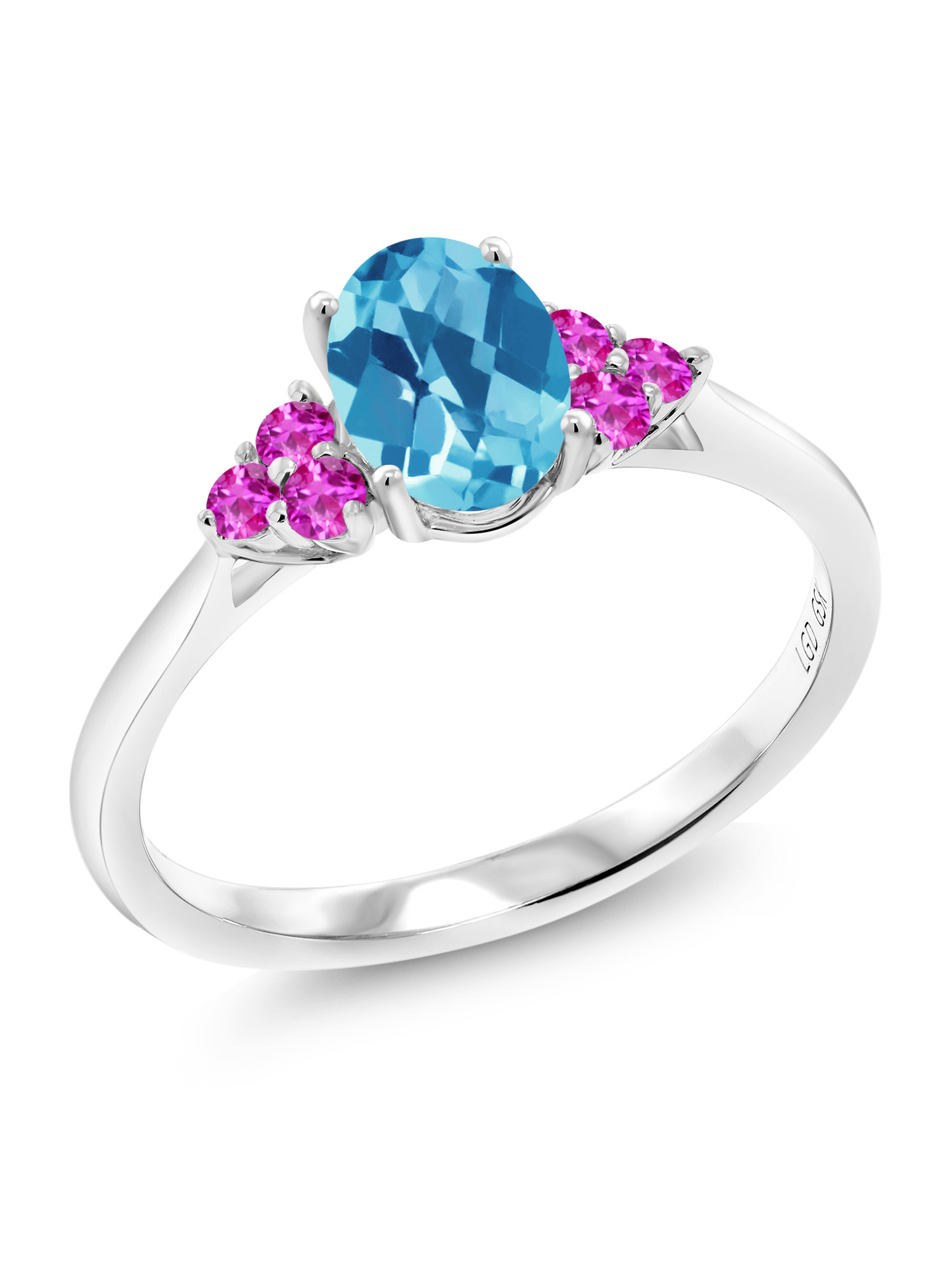 1.25 Ct Oval Checkerboard Swiss Blue Topaz Pink Sapphire 10K White Gold Ring by
