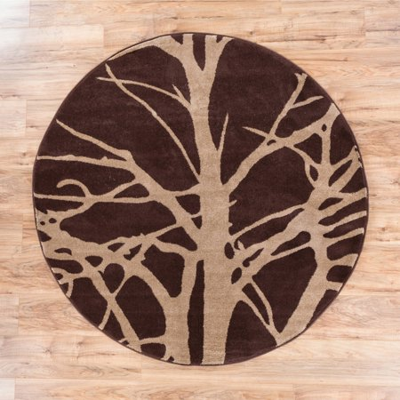 Well Woven Ruby Tree Branches Contemporary Area Round Rug