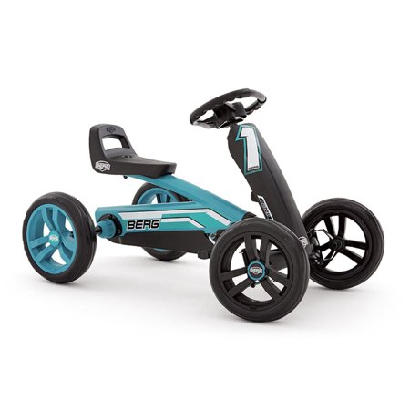 Berg Buzzy Racing Kids Adjustable Seat Compact Pedal Powered Safe Go Kart, Blue - Horse Racing With Cart