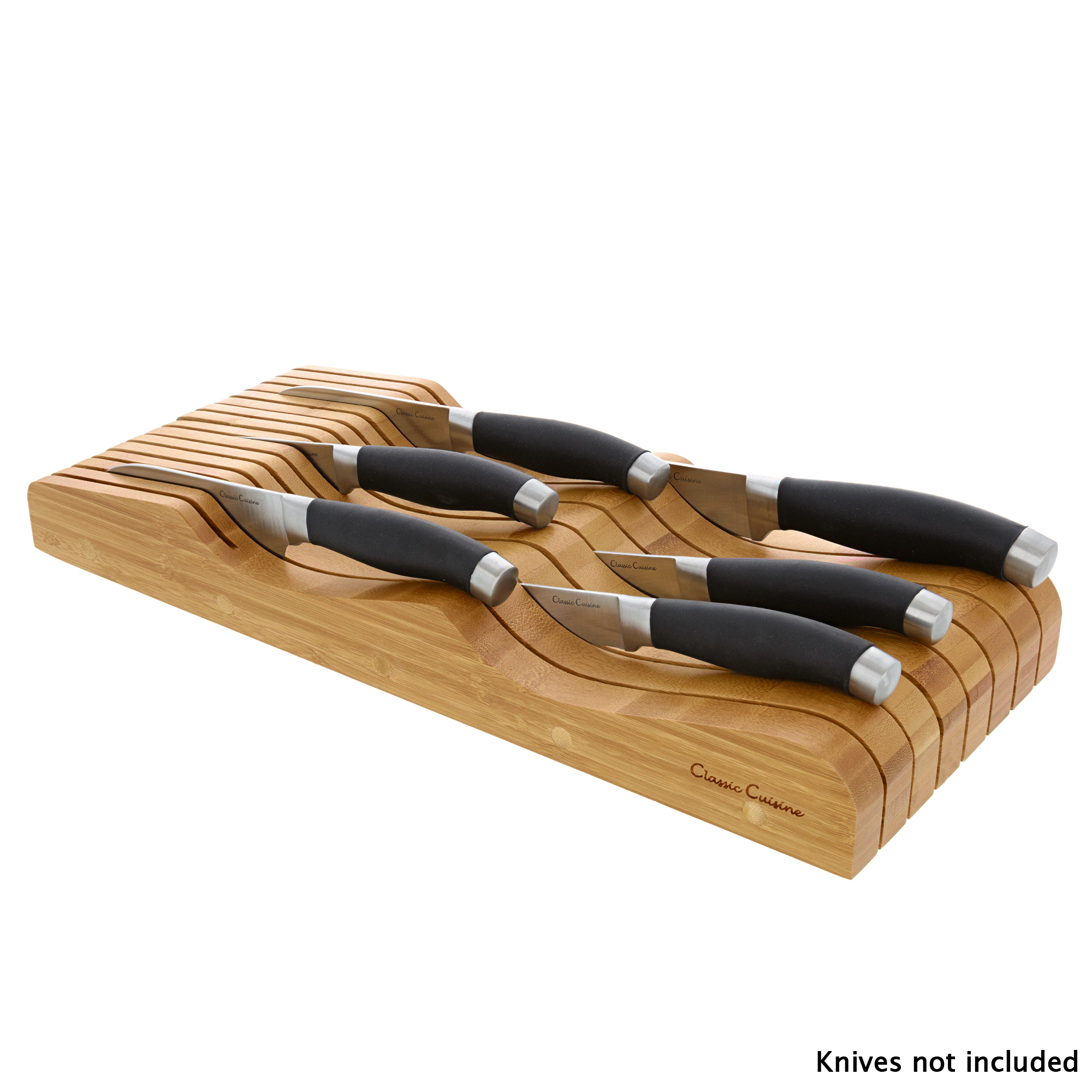In Drawer Bamboo Knife Block and Cutlery Storage Organizer, Holds up to 15 Knives – Bacteria Resistant and Protects Blades by Classic Cuisine