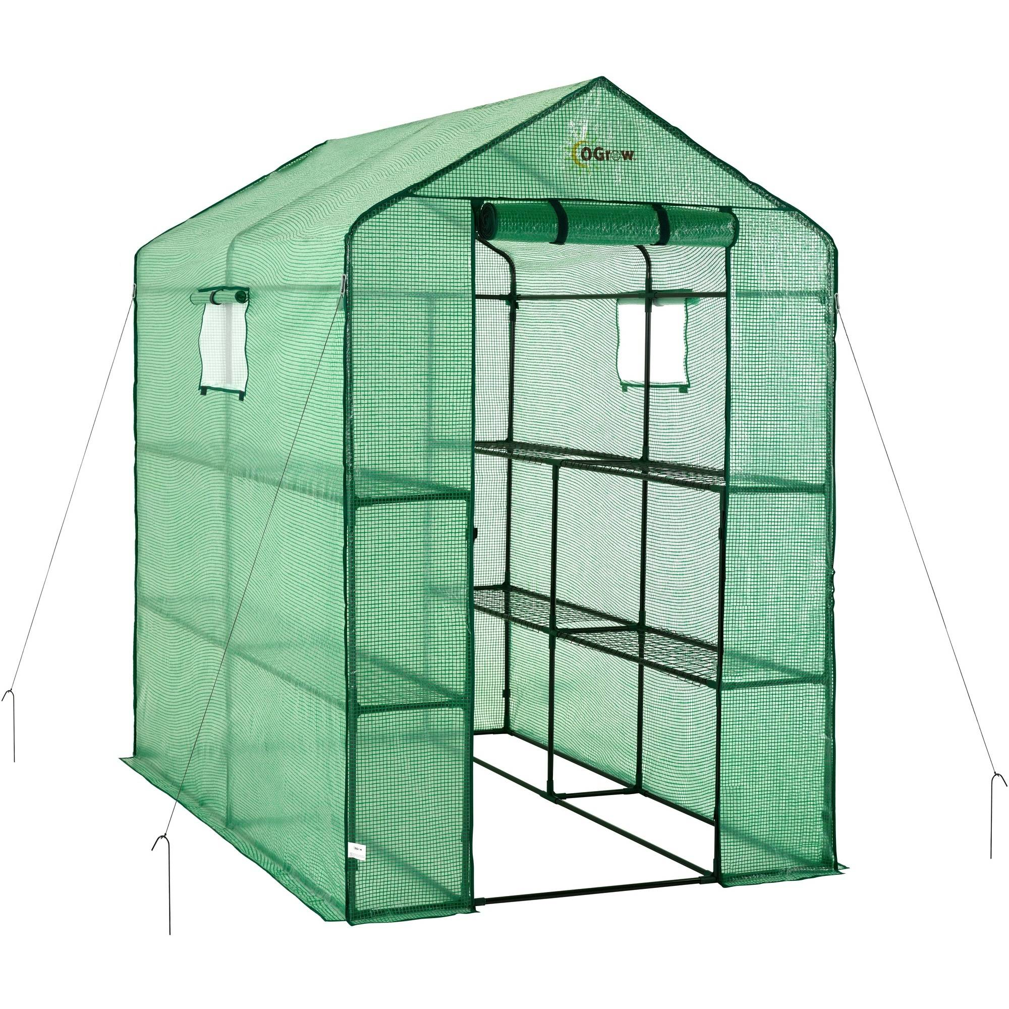 Ogrow Large Heavy-Duty Walk-In 2-Tier 8-Shelf Portable Lawn and Garden Greenhouse