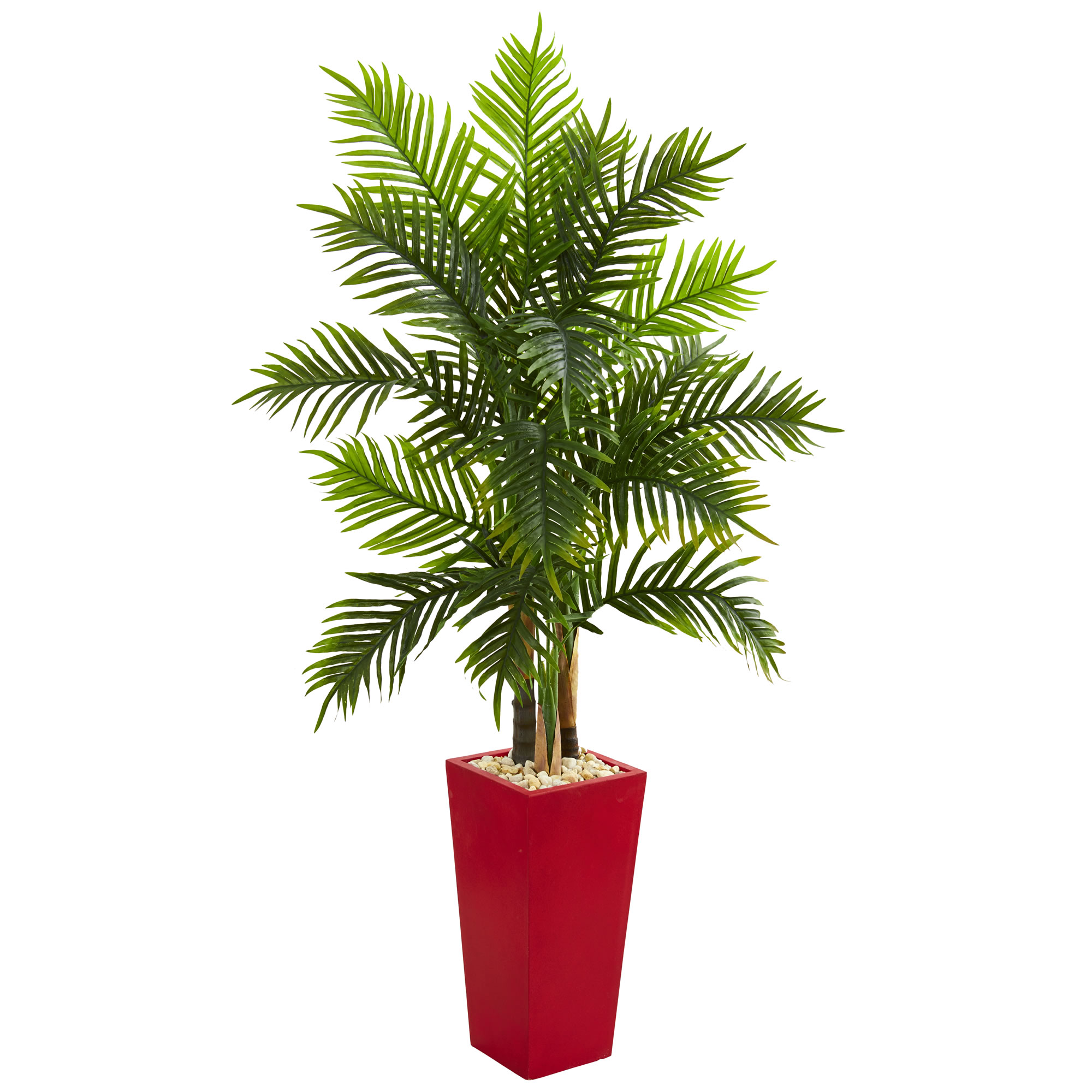 Nearly Natural 5.5' Areca Palm Artificial Tree in Red Planter (Real Touch)