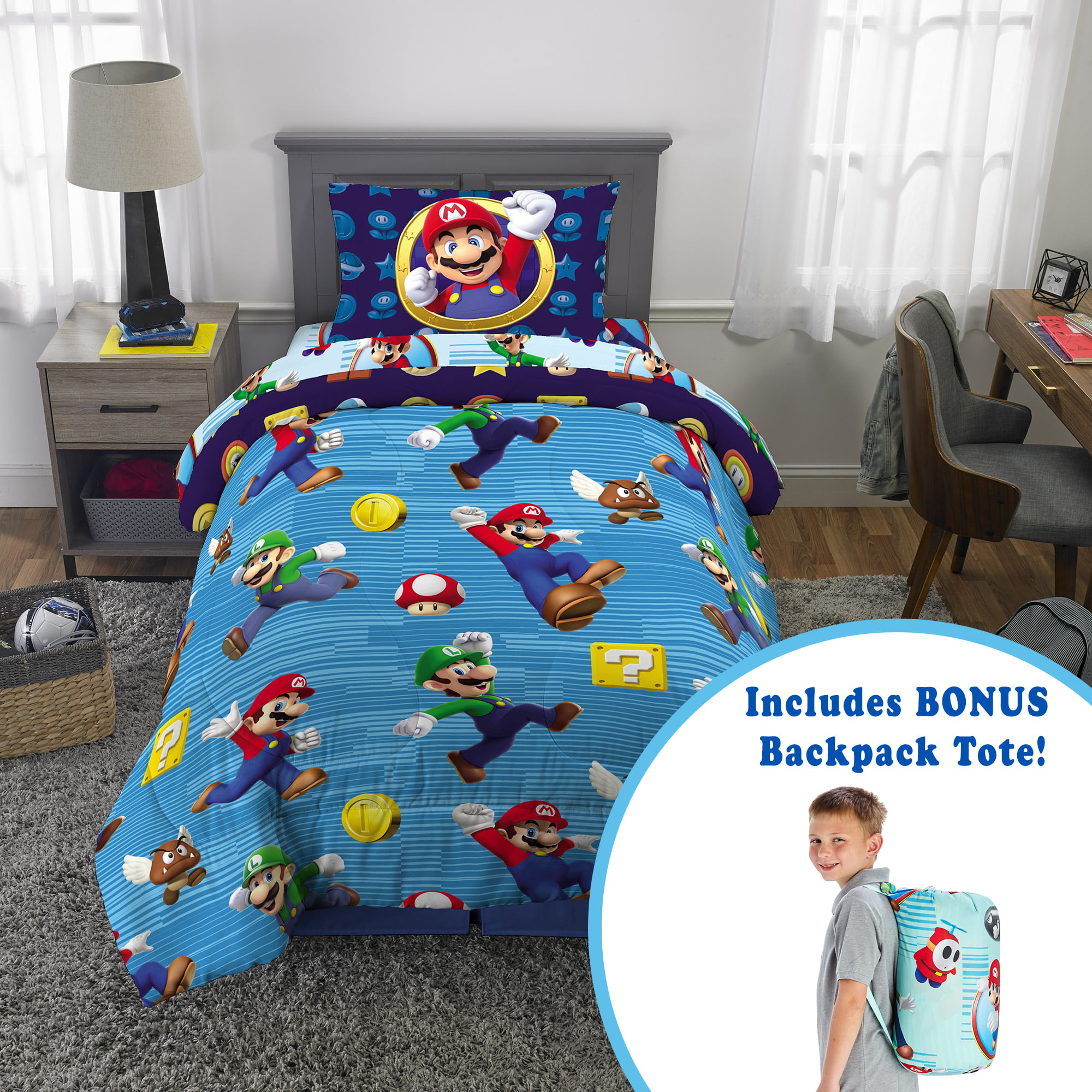 Picture of: Super Mario Kids Microfiber Bed In A Bag Set With Bonus Tote Twin Walmart Com Walmart Com