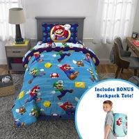 Super Mario Kids Microfiber Bed-in-a-Bag Set with Bonus Tote, Twin