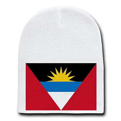 Antigua & Barbuda - World Country National Flags - White Beanie Skull Cap Hat
