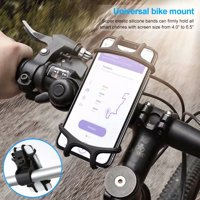 Universal Bicycle Phone Mount, Bike Cell Phone Holder Silicone Motorcycle Handlebar Cradle For 4-6.5inch Phone For iPhone Android Smartphone GPS Black