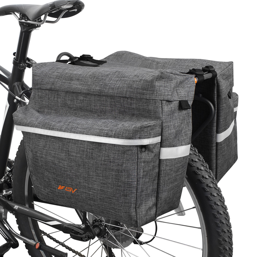 BV Bicycle Panniers with Adjustable Hooks and Carrying Handle Gray