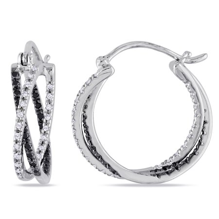 1/4 Carat T.W. Black and White Diamond Sterling Silver Interlinked Hoop Earrings