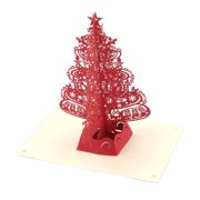Unique Bargains Holiday Festival Paper 3D Handmade Christmas Tree Design Gift Greeting Card Red