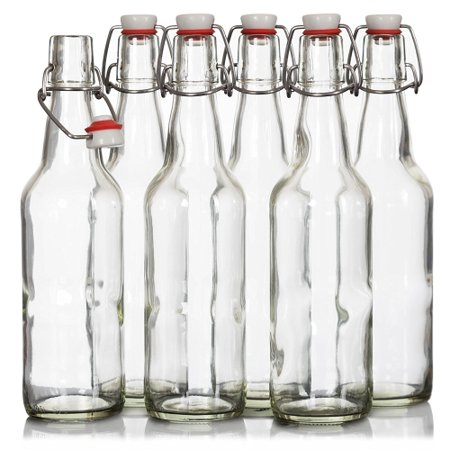 Seal-Tight Fliptop Beer Bottles / Grolsch Bottles with Wire Swing Top  Plastic Cap for Brewing Beer and Kombucha - 16 oz, Clear Glass Bottles [Set  of