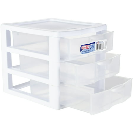 Sterilite, Small 3 Drawer Unit, White, Clear Drawers ()